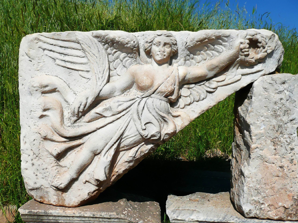 Stone carving of the goddess Nike in Ephasus
